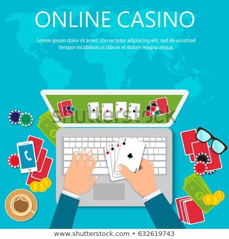 Stockfoto: Online Poker Concept Vector Illustration