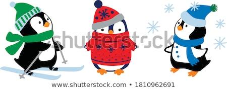 Skating and Skiing Penguins, Happy Winter Holidays Photo stock © robuart