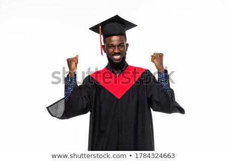 Foto stock: Funny · graduación · joven · blanco · escuela · estudiante