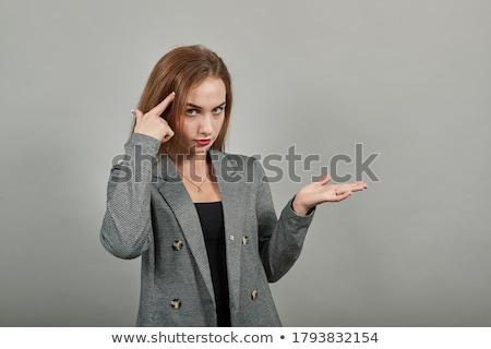 Nő készít obszcén kézmozdulat karok lábak Stock fotó © iofoto