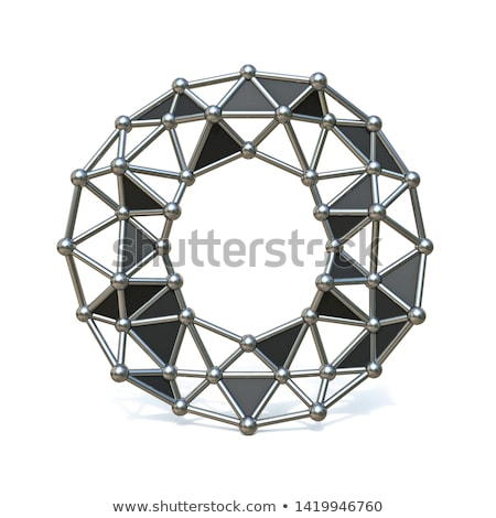 Wire low poly black metal Font Letter I 3D Stock photo © djmilic