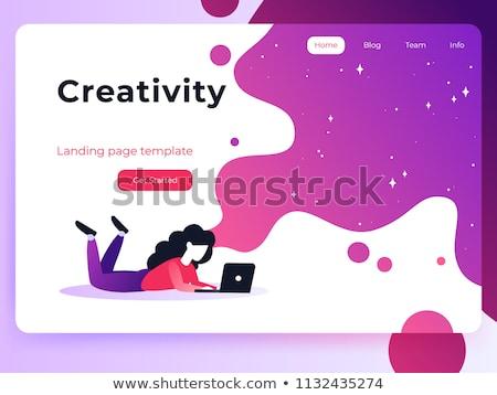 Verbeelding landing pagina sjabloon visie creatief denken Stockfoto © RAStudio