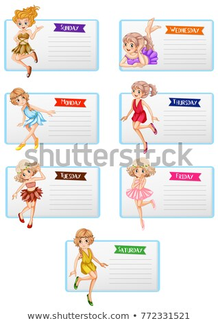 Seven days of the week template with cute fairies Stock photo © colematt