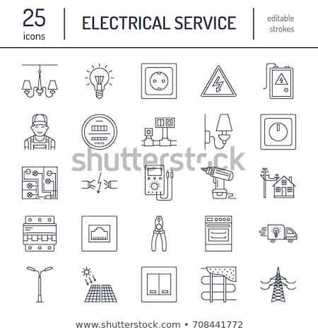 Elektromos javít csillár rajz profi villanyszerelő Stock fotó © jossdiim