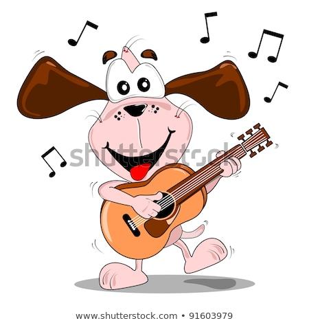 Cartoon hond gitaar illustratie komische teckel Stockfoto © tiKkraf69