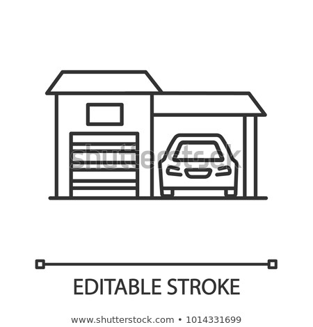 Garage Shed With Car Vehicle Vector Thin Line Icon Stock photo © pikepicture