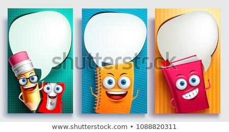 Снова в школу баннер речи пузырь плакат дизайна геометрический Сток-фото © FoxysGraphic