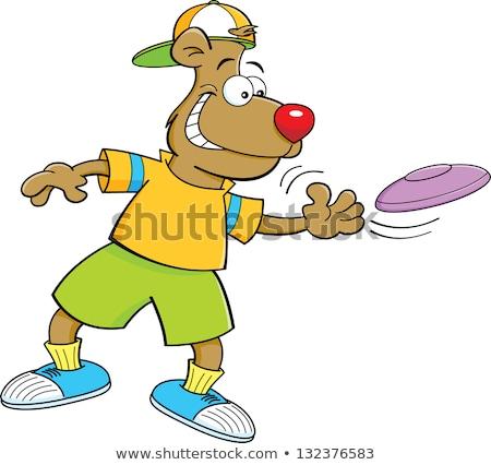 Cartoon bear throwing a flying disc Stock photo © bennerdesign