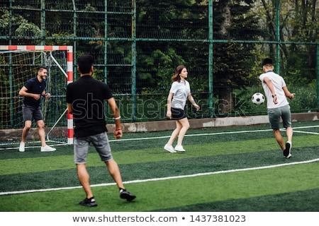 Boldog fiúk nyerő futball gyufa fiatal Stock fotó © matimix