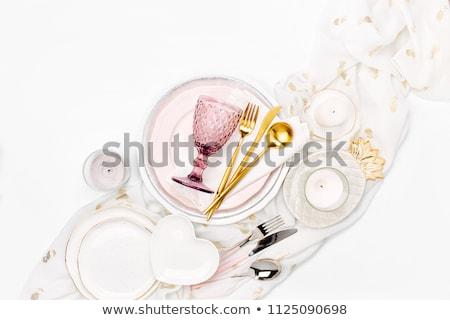 Pormenor servido tabela faca garfo Foto stock © olira