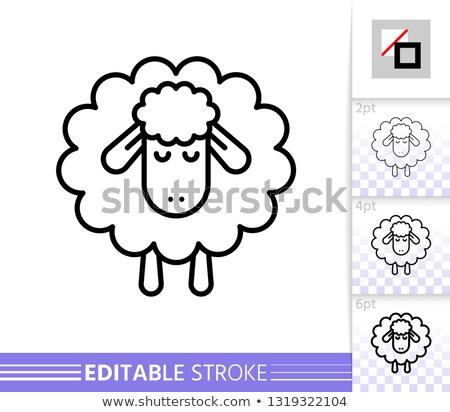 Alszik birka logo szalag terv kalligrafikus Stock fotó © barsrsind