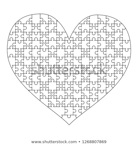 White puzzles pieces arranged in a heart shape. Medium Jigsaw Puzzle template ready for print. Cutti Stock photo © evgeny89