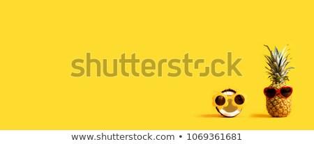 Ananas coco lunettes de soleil sable espace de copie Photo stock © karandaev