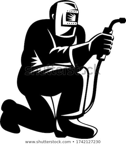 Welder Welding Kneeling Front View Retro Black and White Stock photo © patrimonio