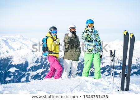Három barátok áll hó domboldal kéz Stock fotó © Paha_L