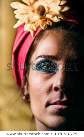 Cute женщину синий головной платок портрет улыбающаяся женщина Сток-фото © stryjek