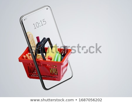 tablet computer with food icons stock photo © adamson