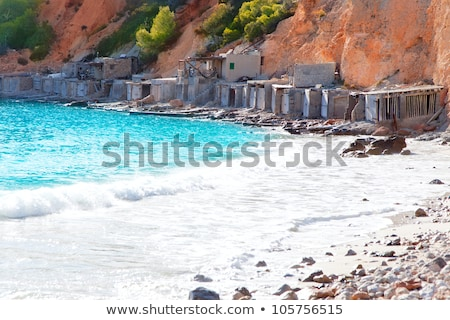 Cala d Hort Ibiza beach with traditional wood mooring Stock photo © lunamarina