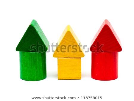 Stockfoto: Drie · hout · speelgoed · huizen · onderwijs · Blauw