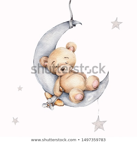 bebek · duş · kart · uykulu · oyuncak · ayı · mutlu - stok fotoğraf © balasoiu