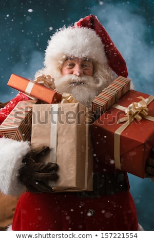 santa claus running outdoors at north pole stock photo © hasloo