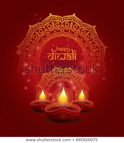 Vector Diwali lamp beautiful rangoli art colorful design Stock photo © bharat