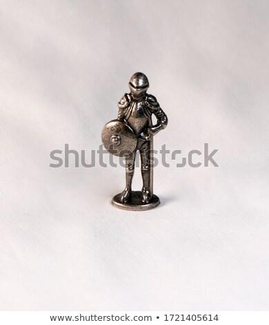 Metal knight statuette isolated Stock photo © michaklootwijk