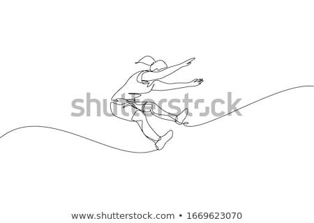 Mulher atleta longo saltar competição areia Foto stock © leonido