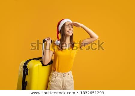 csinos · fiatal · nő · hordoz · piros · utazás · bőrönd - stock fotó © feelphotoart