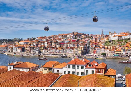 Португалия кабеля автомобилей современных автомобилей закат Сток-фото © joyr