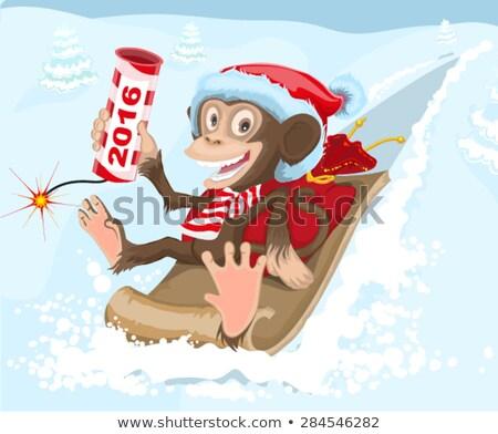 Christmas monkey riding on a sled and keeps petard 2016 Stock photo © orensila