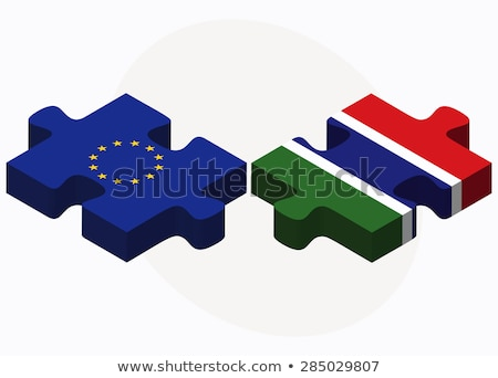 Stock photo: European Union and Gambia Flags in puzzle isolated on white back