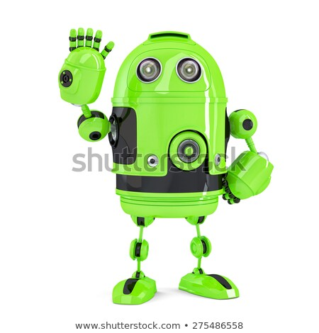 green 3d robot waving hello isolated contains clipping path stock photo © kirill_m