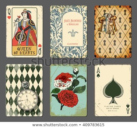 Vintage · туз · покер · игральных · карт · деньги · фон - Сток-фото © netkov1