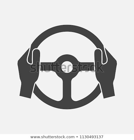 Foto stock: Mãos · volante · ver · dentro · fora