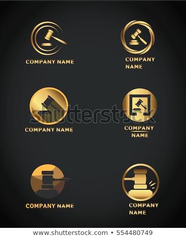 hammer golden vector icon button stock photo © rizwanali3d