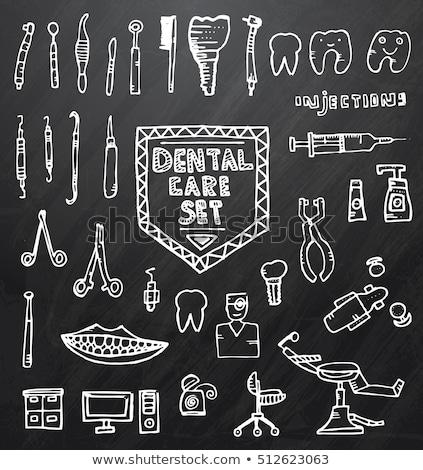 injekciós · tű · kéz · rajz · gyógyszer · ikon · kék - stock fotó © rastudio