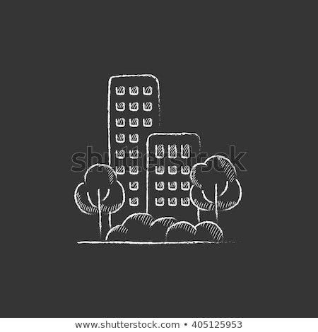Condominium building icon drawn in chalk. Stock photo © RAStudio