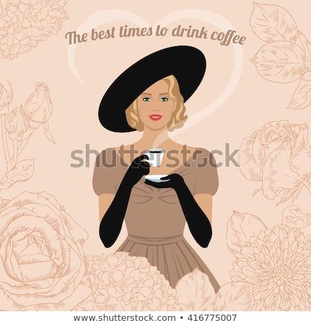 Klasszikus meghívó hölgy ódivatú ruházat sápadt Stock fotó © Morphart