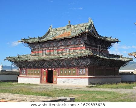 Pagoda mojón naturaleza paisaje azul rojo Foto stock © bbbar