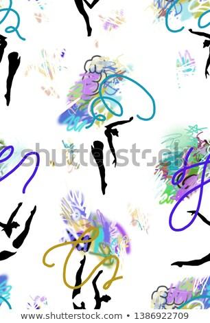 スケッチ 体操選手 実例 白 少女 フィットネス ストックフォト © bluering