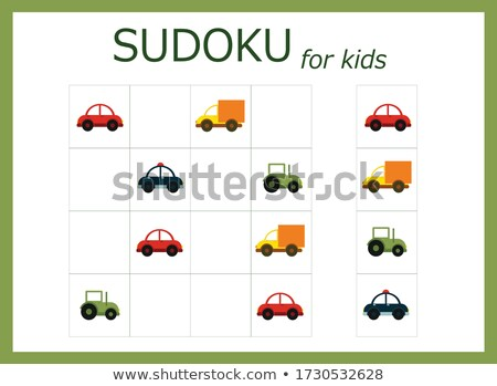 Kids sudoku puzzle with cars automobiles Stock photo © adrian_n