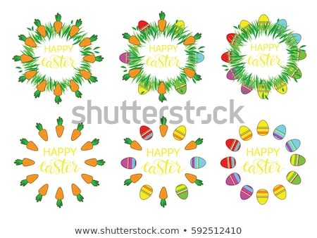 easter label with carrots and eggs happy easter stickers pin stock photo © vasilixa