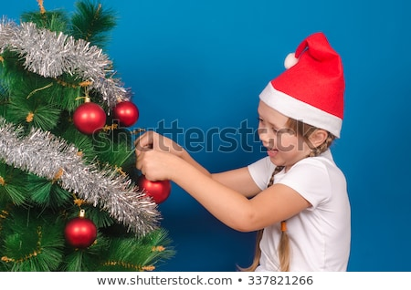 Short blue dress with tinsel Stock photo © gsermek