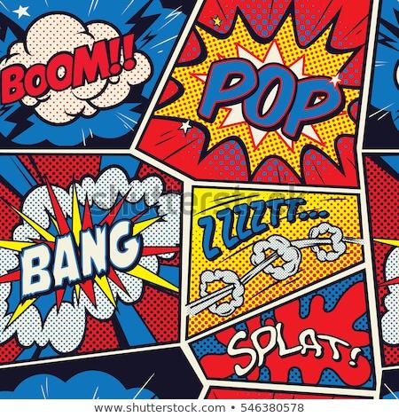 Képregény szavak pop art végtelen minta retro felirat Stock fotó © studiostoks