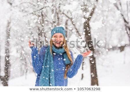 Foto d'archivio: Donna · ridere · neve · Coppia · inverno · occhiali · da · sole