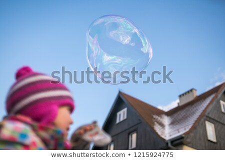 Beautiful girl trying catch soap bubbles Stock photo © IS2