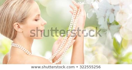 Сток-фото: красивая · женщина · Pearl · бисер · фотография · женщину · лице