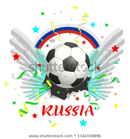 Rainbow banner russia text soccer ball and white wings Stock photo © orensila