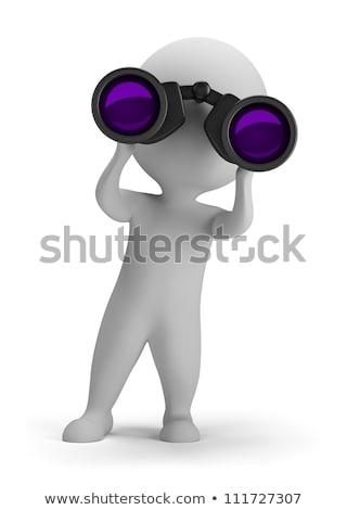 3D · klein · mensen · vergrootglas · handen · afbeelding - stockfoto © anatolym